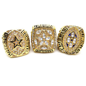 New Collection 3Pcs Dallas Cowboys Emmitt Smith #22 Championship Ring All Size