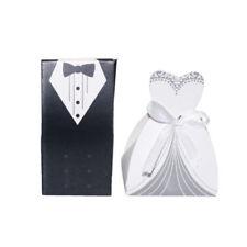 100pcs/ Set Wedding Favor Candy Box Bride & Groom Dress Tuxedo Party With Ribbon