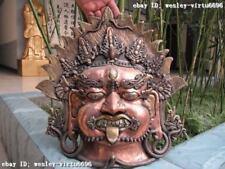 16 Tibet Buddhism Pure Bronze Copper snake King Jambhala Mahakala Buddha mask