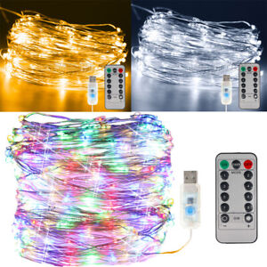 50/100/200 LED Battery Micro Rice Wire Copper Fairy String Lights Party Decor UK