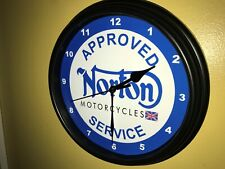 Norton Motorcycle AppService Garage Man Cave Advertising Wall Clock Sign