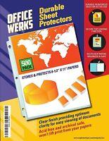 Officewerks Clear Sheet Protectors - 500 Pack, Refinforced Holes, Acid Free