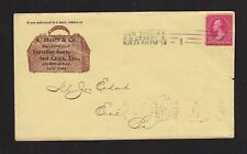 New listing Traveling Bags - Suit Cases Color Illus 1898 Ad Cover Ny to Erie Pa Flag Cancel