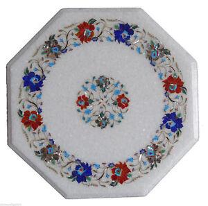 12'' Marble Coffee Table Top Handmade Semi Precious Stone Floral Art Home Decor