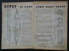 "New listing 15' Canoe ""Gypsy"" Cedar Strip Wood 1940 How-To build PLANS"