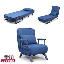 Folding Chaise Lounge Sofa Chair Couch w/Armrest and Pillow Leisure Recliner
