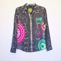 Desigual Button Down Selentia colorful graphic up cotton shirt Womens size M