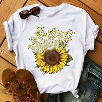Women's Sunflower Graphic Tops Printing Solid Summer Short Sleeve T shirt