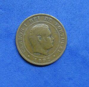 356# PORTUGAL -  10 REIS 1892 A KING CARLOS I  KM#532  PARIS STRUCK