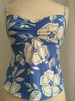 Lands' End Women's SwimwearLight Blue & White Floral Tankini Swimsuit Top Size 6