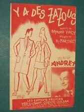 """Partition Chant """"Y a des zazous"""" MARTINET VINCY"""