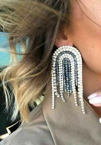 Blue Green Crystal Bling Drop Statement Earrings Zara Blogger Insta Style