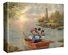 Thomas Kinkade Studio Mickey and Minnie Lighthouse Cove 8 x 10 Wrapped Canvas