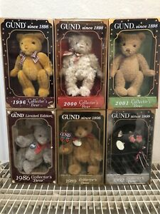 Gund Collectors Bear With Original Box, Limited Edition, Lot of 6