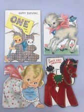 4 Vintage Hallmark Flocked Cards Baby 1st Birthday Valentines Day Christmas 50s