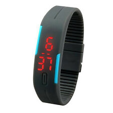 Low Price Ultra Thin Men Unisex Sports Silicone Digital LED Wrist Watch Gray NEW