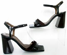 FAITH SIZE 3 WOMENS RETRO BROWN STRAPPY ANKLE STRAPS SANDALS BLOCK HEELS SHOES