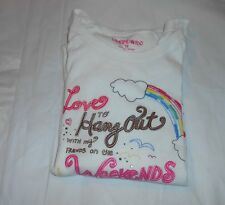 Limited Too Girls Long Sleeve Graphic & Embellished T-Shirt White 18 NWT