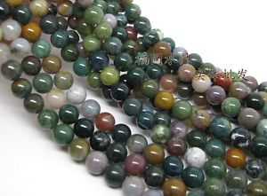 """Natural Indian Agate Gemstone Beads 15 """"4mm 6mm 10mm 12mm"""
