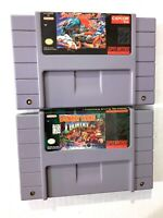 Donkey Kong Country & Street Fighter 2 SNES Super Nintendo Game Lot AUTHENTIC!