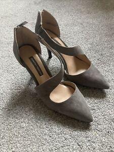 Dorothy Perkins Grey Faux Suede Stiletto Heels Size 5