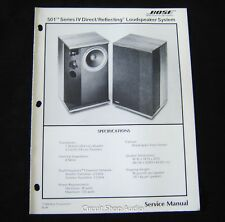 Original Bose 501 Series IV Direct/Reflecting Loudspeaker System Service Manual