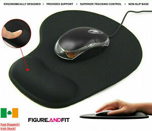 Black Mouse Mat Anti Slip Gaming Desk Pad Wrist Support PC Laptop Irish stock