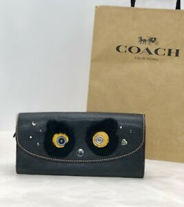 "NWT Coach F22724 ""Fuzz"" Bear Slim Envelope Snap Wallet Leather Black Multi $275"