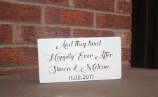 shabby vintage chic wedding and they lived happily ever after personalised sign