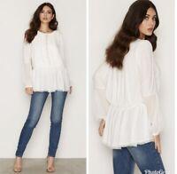 Free People Women S Peasant Blouse/Shirt Soul Serene Top Small Ivory Boho #736