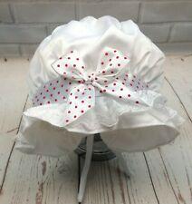 Baby Girl Christening Bonnet Sun Hat White 0-12 Months dots satin ribbon new