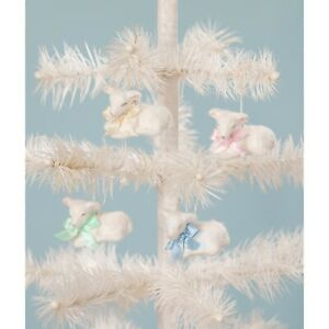 Bethany Lowe Easter Set Of 4 Pastel Fuzzy Lamb Ornaments TL9408