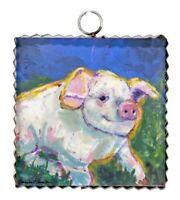 Round Top Collection NWT - Mini Hamilton Barnyard Pig Print - Metal & Wood