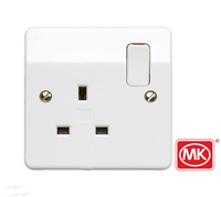 MK Single Socket White 13A 1 Gang Double Pole Switched  K2757WHI Logic Plus™