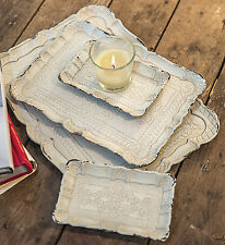 """TRAYS - """"FIRENZE"""" DECORATIVE ETCHED WOODEN TRAYS - SET OF FOUR"""