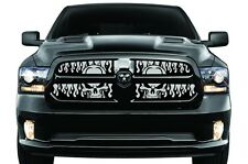 Custom Steel BLACK FLAME SKULLS Cold Winter Grille for 2013-2018 Dodge Ram 1500