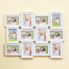 Wall Mounted White Plastic Collage 12 Multi Photo Picture Frame Photograph 4x6