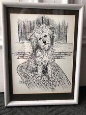 Vintage Pen&Ink Framed/Matted Sheepdog,Long Haired Terrier,Benji Dog Signed Art