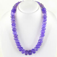 802.50 CTS NATURAL RICH PURPLE AMETHYST UNTREATED ROUND CARVED BEADS NECKLACE