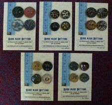 Handmade Four Artisan Ceramic Pottery Buttons made in Wales UK Welsh Art Sewing