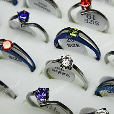 12pcs Cubic Zircon 316L Stainless steel Fashion Womens Rings Wholesale Jewelry