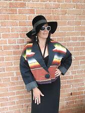 Southwestern Native American Blanket & Denim Chimayo sty Jacket sz M-L