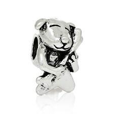 Antique Silver Dog & Bone Spacer Charm Bead  For European Charm Bracelets