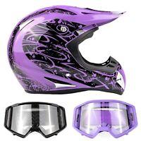 ATV Adult Purple Helmet Goggle Combo Black or Purple DOT Off-road Dirt Bike ATV