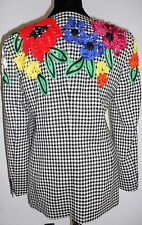 ESCADA Vintage Black White Check Embroidered Flowers Red Yellow Jacket Coat 36 6