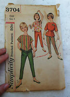 Vtg SIMPLICITY Sewing Printed PATTERN #3704 Size 4 Child's & Girl's Tops & Pants