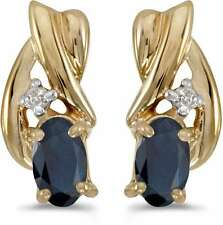 10k Yellow Gold Oval Sapphire & Diamond Earrings E1861-09