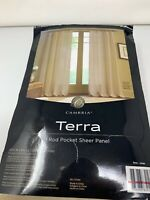 Cambria Terra 84-Inch Rod Pocket Sheer Window Curtain Panel in Linen