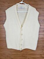 Vintage Quill's Woolen Market Ivory Button Up Sweater Vest Mens size Medium M