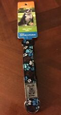 RC Pet Products Clip Dog Collar XSmall Pitter Patter Blue Chocolate Paws